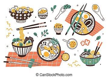 set, giapponese, ciotole, bastoncini., saporito, asiatico, delizioso, stew., tagliatelle, appartamento, broth., colorito, fascio, collezione, ramen, cartone animato, illustration., pasto, tradizionale, minestra, vettore, o