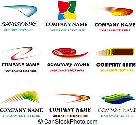 set, giusto, name., marcare caldo, marca, vettore, posto, proprio, corporativo, tuo, templates.