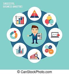set, grafico, affari