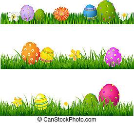 set, grande, uova, erba, verde, fiori, pasqua