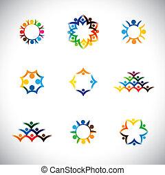 set, graphic., lavoro squadra, insieme, gruppo, icone, amore, -, anche, organizzazione, alleanza, colorito, collezione, unità, illustrazione, bambini, solidarietà, rappresenta, persone, unione impiegati, questo, vettore