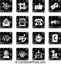 set, grunge, centro, icone, vettore, chiamata