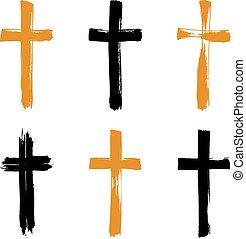set, grunge, collectio, icone, croce, giallo, hand-drawn, nero