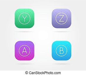 set, guidelines., app, vettore, sagoma, fresco, colore, icona