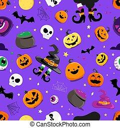 set, halloween, elementi, seamless, modello, vettore