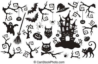 set, halloween, oggetti