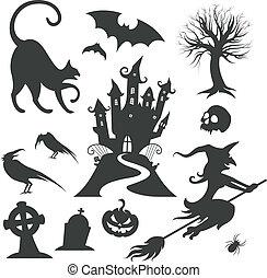 set, halloween, vettore, vario, disegni elementi