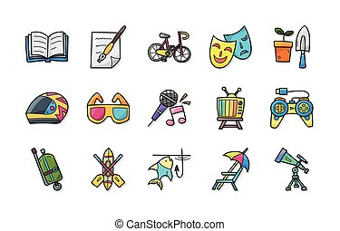 set, hobby, ozio, icone, eps10