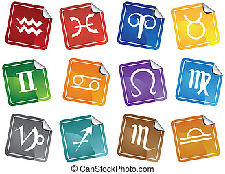 set, icona, adesivo, astrologia