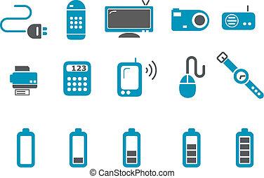set, icona, elettronico