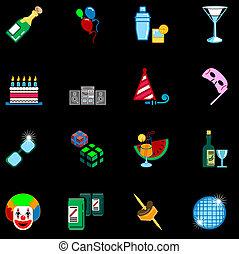 set, icona, festa, serie