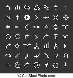 set, icona freccia