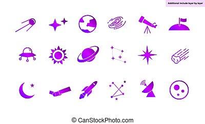 set, icona, vettore, -, ad184, astronomia