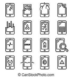 set., icona, vettore, danno, telefono, stile, mobile, linea