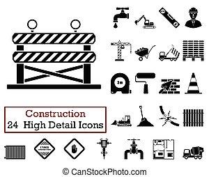 set, icone, 24, costruzione
