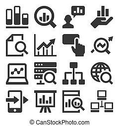 set, icone, analisi, fondo., vettore, bianco, dati