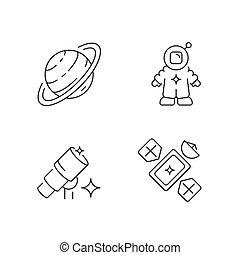 set, icone, astronautic, lineare
