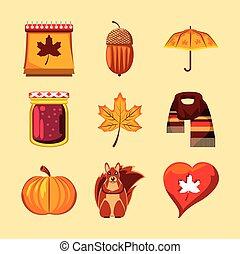set, icone, autunno