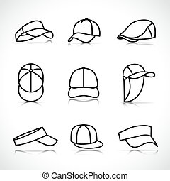 set, icone, berretto, sport, vettore
