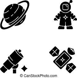 set, icone, bianco, astronautic, glyph, nero, spazio