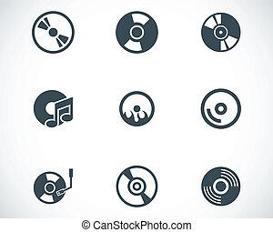 set, icone, cd, vettore, nero, disco