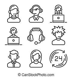 set., icone, centro, vettore, chiamata, sostegno