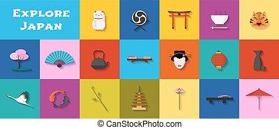 set, icone, cibo, architettura, giapponese, limiti, vettore