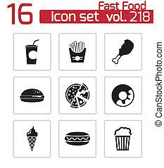 set, icone, cibo, digiuno, vettore, nero