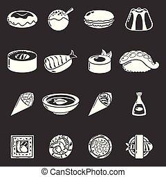set, icone, cibo, grigio, vettore, giappone