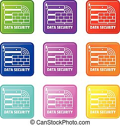 set, icone, colorare, collezione, 9, sicurezza, dati