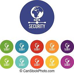 set, icone, colorare, globale, vettore, sicurezza, dati