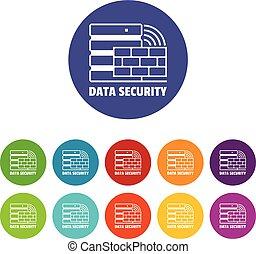 set, icone, colorare, vettore, sicurezza, dati