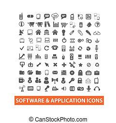 &, set, icone, domanda, vettore, software