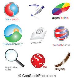 set, icone, eps8, 3d
