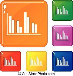 set, icone finanziarie, colore, analisi, vettore