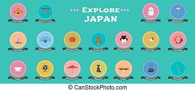 set, icone, giapponese, limiti, vettore, architettura, oggetti