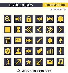 set, icone, grigio, giallo, vettore, fondamentale