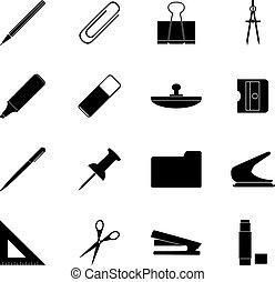 set, icone, illustrazione, vettore, nero, stationery