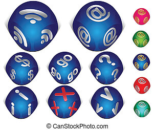 set, icone, internet, 3d