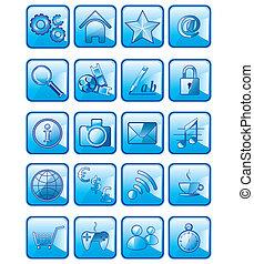 set, icone, isolato, domanda, vettore, fondo, bianco