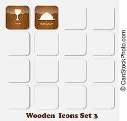 set, icone, legno, illustrazione, domanda, vettore