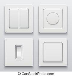 set, icone, luce, moderno, interruttore, vettore