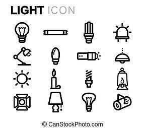 set, icone, luce, vettore, nero, linea