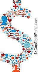 set, icone, media, simbolo, dollaro, sociale