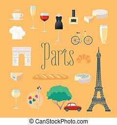 set, icone, parigi, viaggiare, francia, vettore