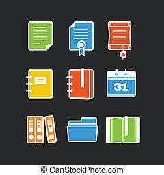 set, icone ufficio, colorare, vettore, nero, documenti