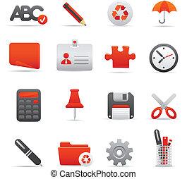 set, icone ufficio, serie, 01,  , rosso