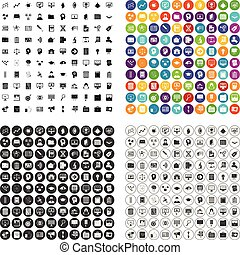 set, icone, variante, analisi, vettore, 100, dati