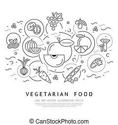 set, icone, vettore, nero, digitale, verdura