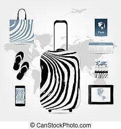 set, icone, viaggiare, disegno, valigia, tuo